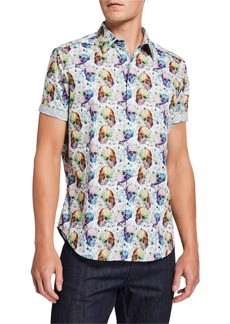 Robert Graham Men's Galena Skull-Print Sport Shirt