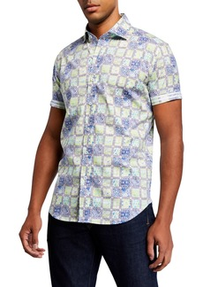 Robert Graham Men's Galleon Square Patchwork Print Short-Sleeve Sport Shirt