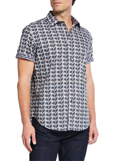 Robert Graham Men's Hampden Skull Print Short-Sleeve Sport Shirt