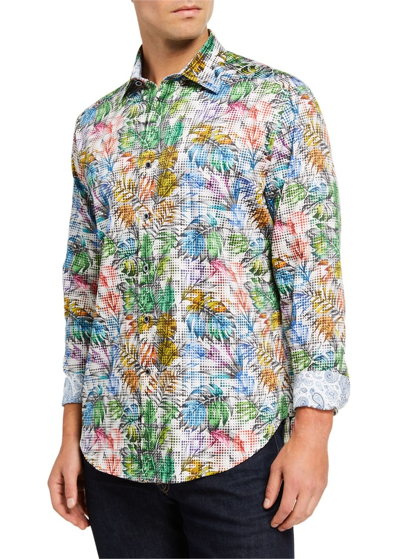 Robert Graham Men's Hollyloch Leaf Printed Long-Sleeve Sport Shirt