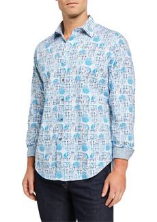 Robert Graham Men's Ivey Abstract Long-Sleeve Sport Shirt