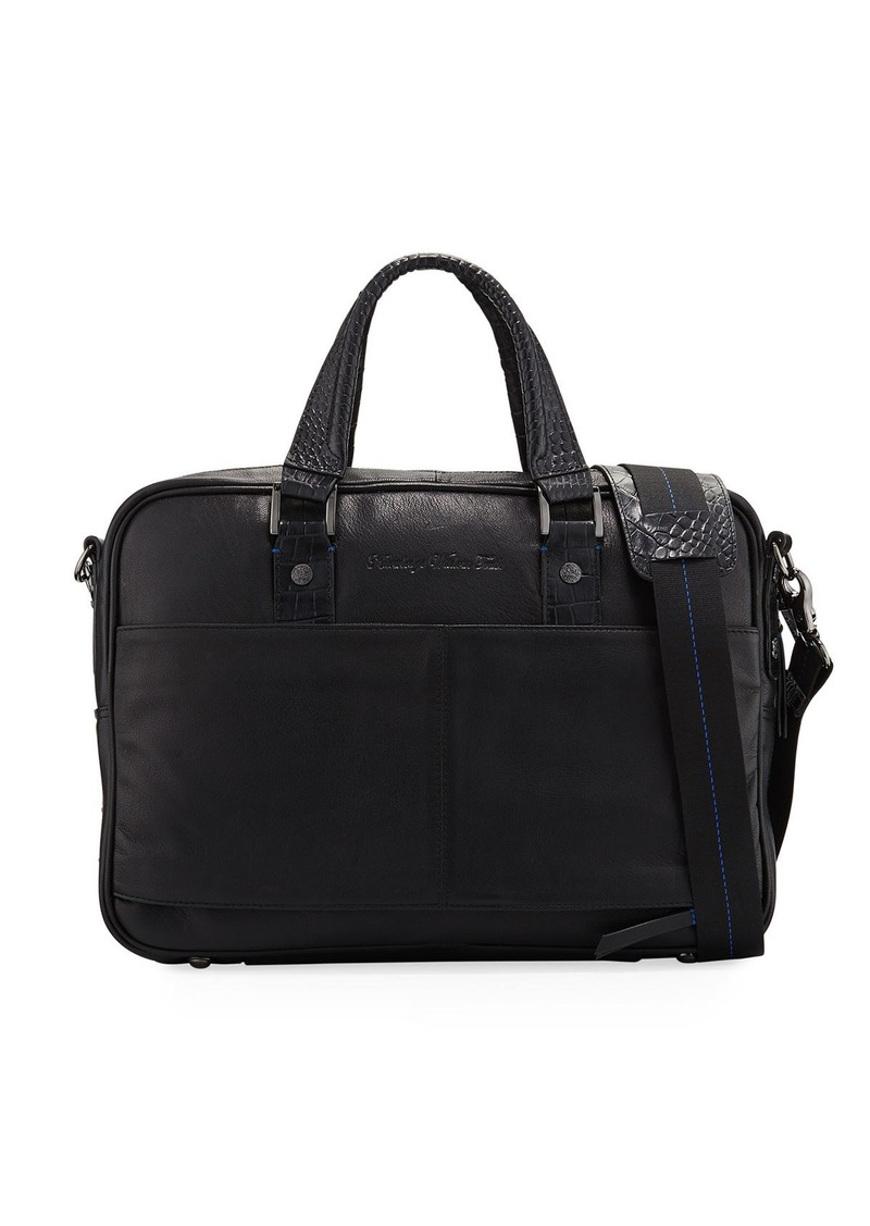 Robert Graham Men's Keaton Crocodile-Embossed Leather Briefcase