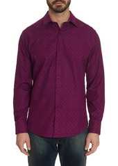 Robert Graham Men's Keaton Patterned Sport Shirt with Contrast Detail