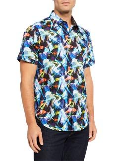 Robert Graham Men's Keeneland Abstract Short-Sleeve Sport Shirt
