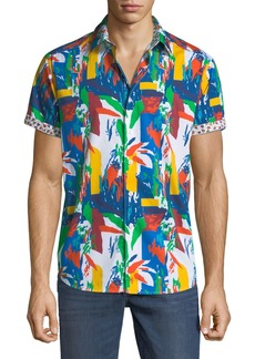 Robert Graham Men's Lakelane Classic-Fit Brushstroke Short-Sleeve Sport Shirt