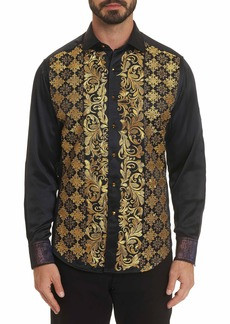 Men's Limited Edition The Karat Perk Silk Embroidered Sport Shirt Size: XS by Robert Graham
