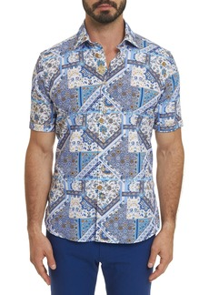 Men's R Collection Gallo Short Sleeve Shirt Size: S by Robert Graham
