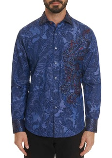 Robert Graham Men's Rockin' Bones Paisley Graphic Sport Shirt