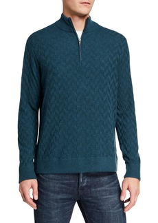 Robert Graham Men's Rowley Textured Quarter-Zip Sweater  Extended Sizes