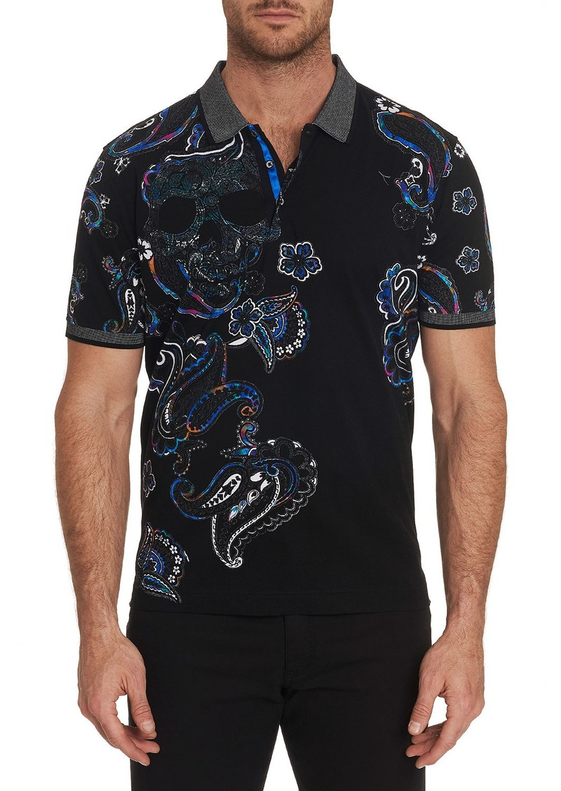 Robert Graham Men's Skull Island Contrast-Collar Polo Shirt