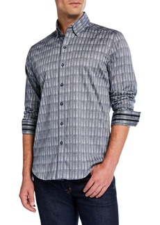 Robert Graham Men's Trim-Fit Banyan Striped Long-Sleeve Sport Shirt