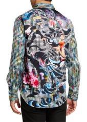 Robert Graham Men's Woodside Floral Grid Print Sport Shirt
