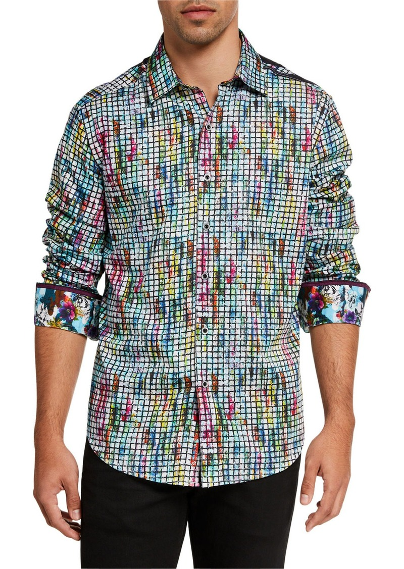 Robert Graham Men's Woodside Floral Grid Print Sport Shirt