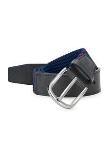 Robert Graham Oaisis Textured Fabric & Leather Belt