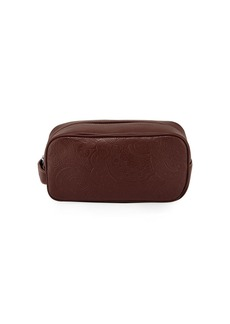 Robert Graham Paisley-Embossed Leather Toiletry Case