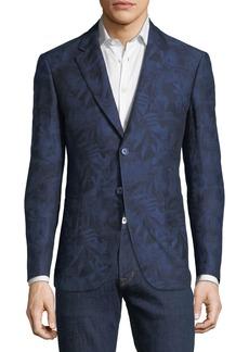 Robert Graham Palm-Leaf Jacquard Two-Button Cotton-Linen Sport Coat