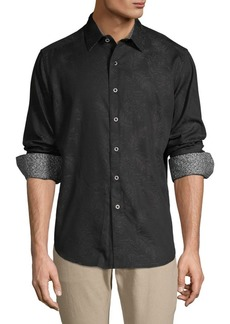 Robert Graham Palm-Print Long-Sleeve Shirt