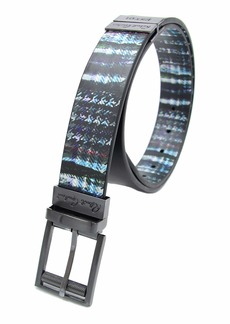 "Robert Graham 4 Way Reversible Black Leather Blue Striped Print Laughton"" Men's Plaid Belt"
