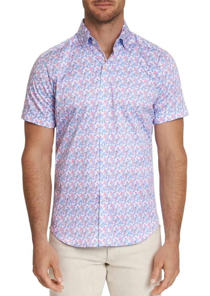 Robert Graham Banner Short-Sleeve Pixel-Print Classic Fit Shirt