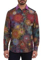 Robert Graham Black Holes Embroidered Silk Sport Shirt
