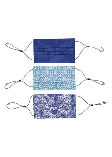 Robert Graham Blue Assorted 3-Pack Adult Pleated Face Masks