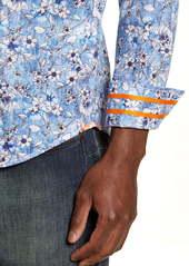 Robert Graham Cameron Regular Fit Floral Linen Blend Button-Down Sport Shirt