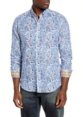 Robert Graham Cameron Regular Fit Floral Linen Blend Button-Down Sport Shirt
