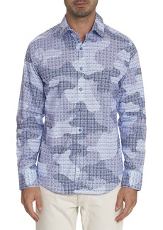 Robert Graham Courageous Cotton Camo Mosaic Tile Print Classic Fit Button-Up Shirt