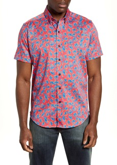Robert Graham Degory Regular Fit Floral Short Sleeve Button-Up Sport Shirt