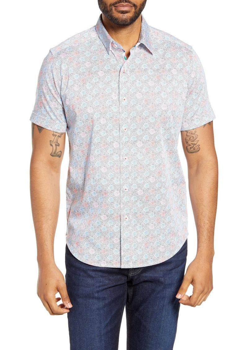 Robert Graham Drawn Line Short Sleeve Button-Up Shirt
