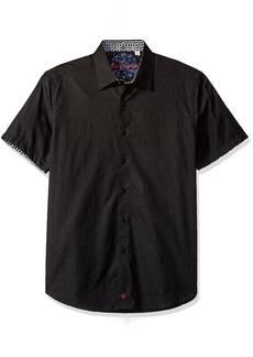 Robert Graham en's Classic Fit Woven Short Sleeve Button Down Shirtedium