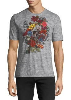 Robert Graham Floral and Skull Print Cotton Crewneck Tee
