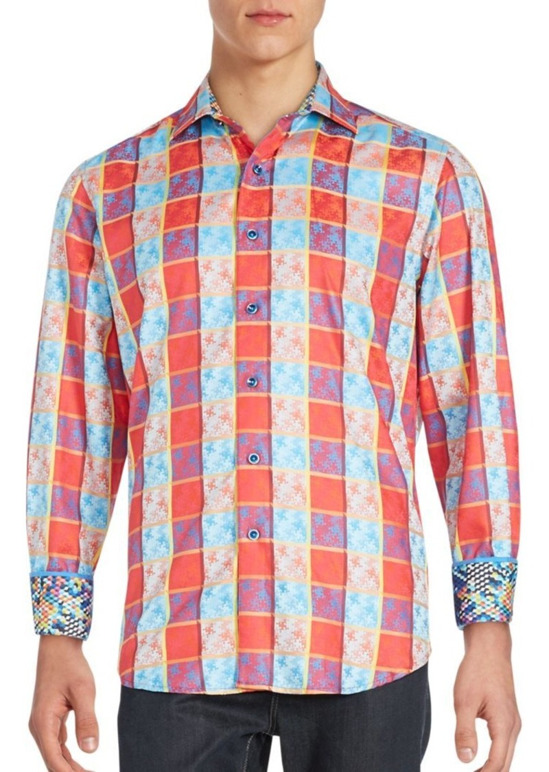 Robert Graham Fractal Print Window Pane Sportshirt
