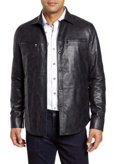Robert Graham Gable Regular Fit Embossed Leather Shirt Jacket