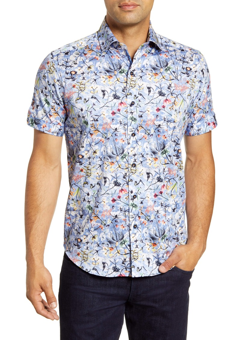 Robert Graham Greene Regular Fit Floral Short Sleeve Button-Up Sport Shirt