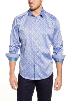 Robert Graham Kane Regular Fit Paisley Stripe Button-Up Sport Shirt