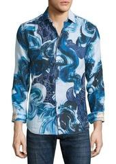 Robert Graham Limited Edition Boulder Beach Printed Linen Sport Shirt