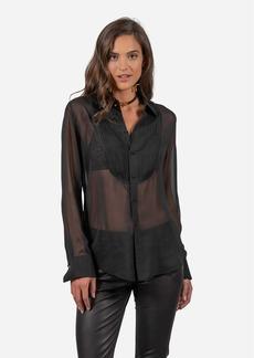 Robert Graham Marina Tuxedo Silk Chiffon Shirt