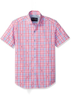 Robert Graham Men's Chancellor Short Sleeve Tailored Sport Shirt  2XLARGE