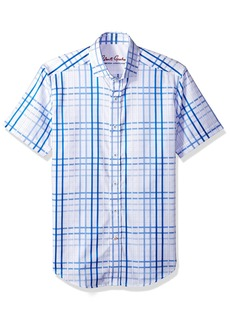 Robert Graham Men's Dax S=Short Sleeve L=Sleeveless} Tailored Fit Woven Shirt