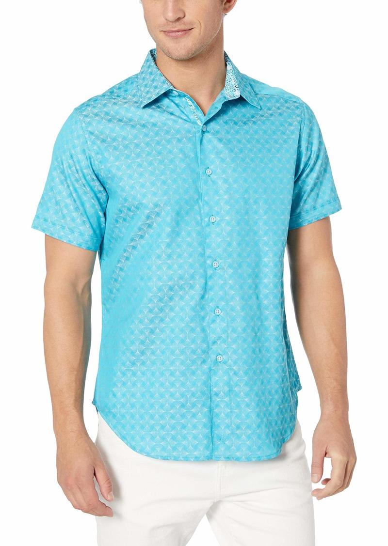 Robert Graham Men's Diamante Short Sleeve Classic FIT Shirt  XLarge