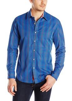 Robert Graham Men's Flagship Grid-Check Button Down Shirt with Convertible Cuffs