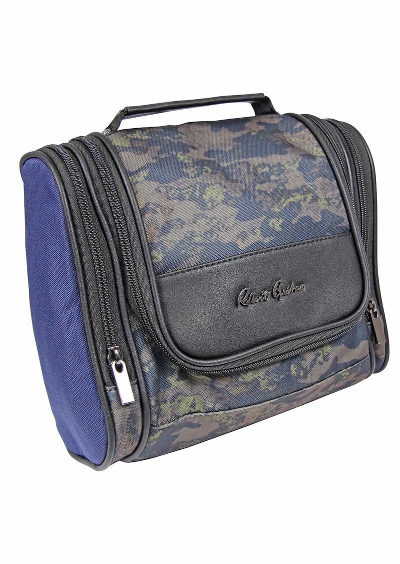 Robert Graham Men's Hanging Kit Toiletry Organizer w/Lots of Pockets Zip-Up Travel Cosmetic Bag