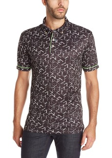 Robert Graham Men's Hills of Sand Short Sleeve Knit Polo  Medium