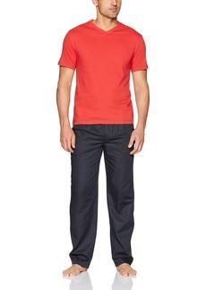 Robert Graham Men's Kadi Fusion 2-Piece Set with Jersey Top and Woven Pant red XL