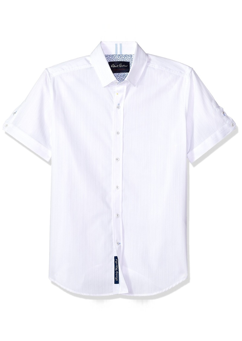 Robert Graham Men's Livingston Short Sleeve Slim FIT Shirt  XLarge