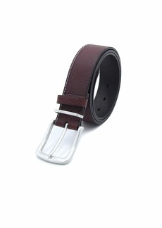 "Robert Graham Men's Metal & Leather Keeper Contrast Top Stitch ""GENE"" Brown Leather Belt"