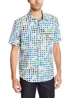 Robert Graham Men's Seapages Short Sleeve Woven Shirt  X-Large