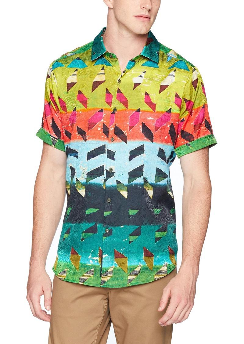 Robert Graham Men's Sharpe Short Sleeve Classic FIT Silk Shirt  3XLARGE