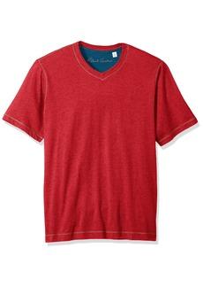 Robert Graham Men's Short Sleeve Classic Fit Jersey Tee Shirt Heather red